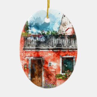 Ornamento De Cerâmica Casas coloridas na ilha Veneza Italia de Burano