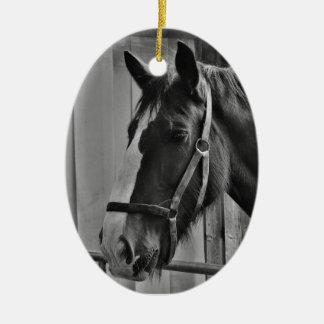 Ornamento De Cerâmica Cavalo branco preto - arte animal da fotografia