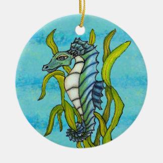 Ornamento De Cerâmica Cavalo marinho azul do dragão do mar do Aqua da