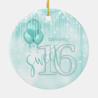 Ornamento De Cerâmica Cerceta ID473 do doce 16 das luzes & dos balões da