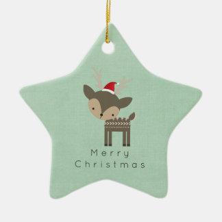 Ornamento De Cerâmica Cervos do Natal em um hipster retro do chapéu