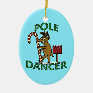 Ornamento De Cerâmica Chalaça engraçada da rena do Natal do dançarino