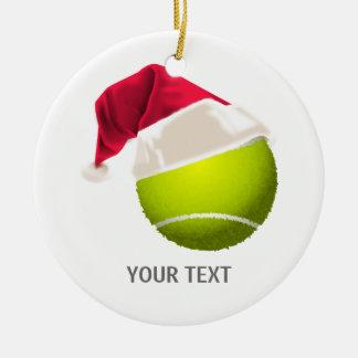 Ornamento De Cerâmica Chapéu do papai noel da bola de tênis do Natal