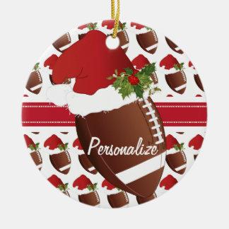 Ornamento De Cerâmica Chapéu do papai noel do futebol do esporte do