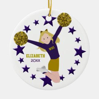 Ornamento De Cerâmica Cheerleader louro Pom Poms no roxo & no ouro