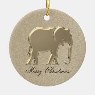 Ornamento De Cerâmica Chique elegante da silhueta dourada do Natal do