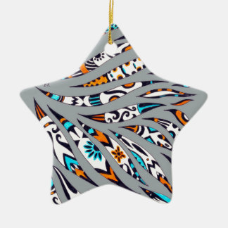Ornamento De Cerâmica Cinza Funky manchado de tinta da arte do teste