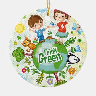 Ornamento De Cerâmica Citações felizes da consciência do pense verde