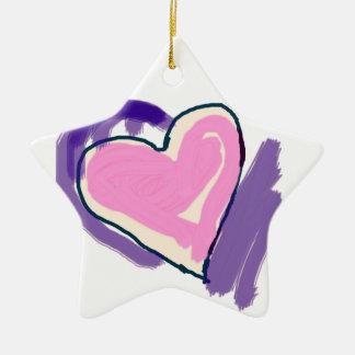Ornamento De Cerâmica Coração cor-de-rosa