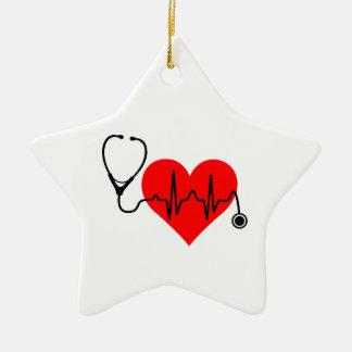 Ornamento De Cerâmica Coração da pulsação do coração do estetoscópio