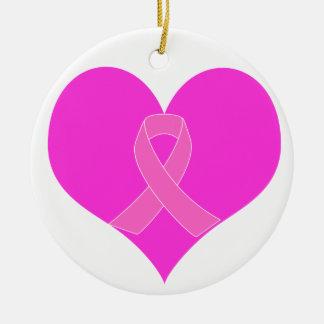 Ornamento De Cerâmica Coração e design da caridade do cancro da mama da