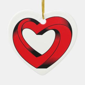 Ornamento De Cerâmica coração impossìvel torcido