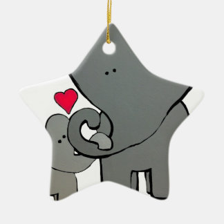 Ornamento De Cerâmica Corações do elefante