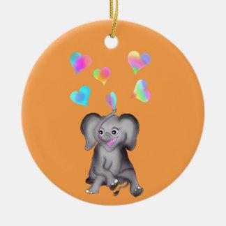 Ornamento De Cerâmica Corações do elefante pelos Feliz Juul Empresa