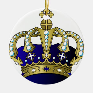 Ornamento De Cerâmica Coroa real do azul & do ouro