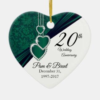 Ornamento De Cerâmica Costume - 20o aniversário de casamento esmeralda