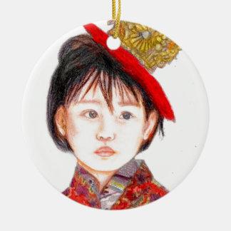 Ornamento De Cerâmica Criança leste asiático