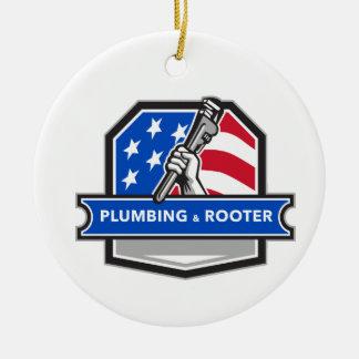 Ornamento De Cerâmica Crista da bandeira dos EUA da chave de tubulação
