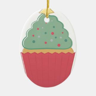 Ornamento De Cerâmica Cupcake do feriado