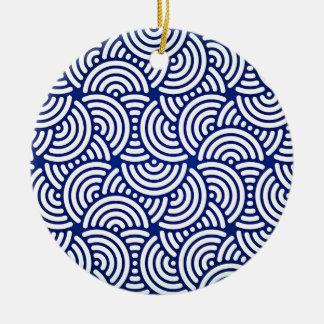 Ornamento De Cerâmica Curva azul do japonês de Deco