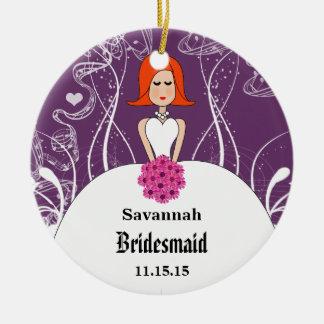 Ornamento De Cerâmica Dama de honra vermelha do cabelo do casamento roxo
