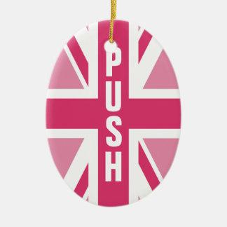 Ornamento De Cerâmica ~ de Union Jack em rosa femininos