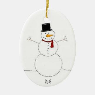 Ornamento De Cerâmica Decoração 2018 do Natal do boneco de neve
