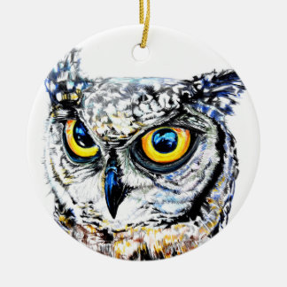 Ornamento De Cerâmica Decoração da árvore de Natal da coruja de noite