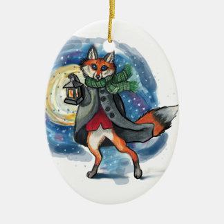 Ornamento De Cerâmica Decoração do Fox Chirstmas da lanterna do feriado!