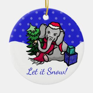 Ornamento De Cerâmica Deixais lhe para nevar elefante colorido bonito do