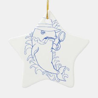 Ornamento De Cerâmica Desenho da baleia de assassino da orca do detetive