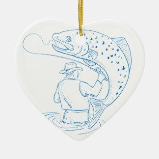 Ornamento De Cerâmica Desenho da pesca da truta do pescador da mosca