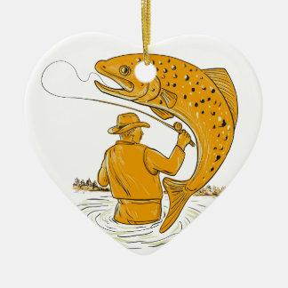 Ornamento De Cerâmica Desenho de enrolamento da truta do pescador da