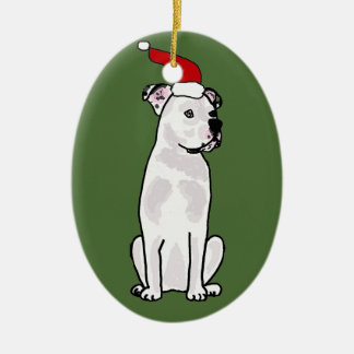 Ornamento De Cerâmica Design americano branco engraçado do Natal do
