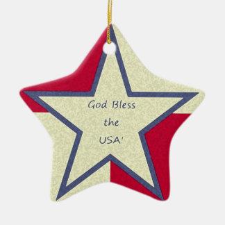 """Ornamento De Cerâmica """"Deus abençoe que os EUA"""" Ornament"""