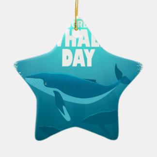 Ornamento De Cerâmica Dia da baleia do mundo - dia da apreciação