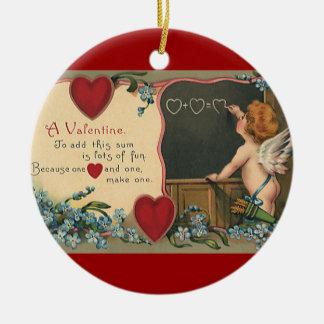 Ornamento De Cerâmica Dia dos namorados bonito do vintage, professor do