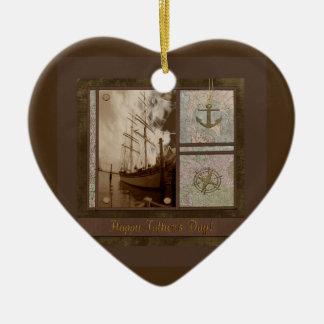 Ornamento De Cerâmica Dia dos pais, navios altos, âncora, mapas,