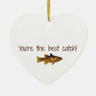 Ornamento De Cerâmica Dia dos pais que pesca o seja a melhor captura