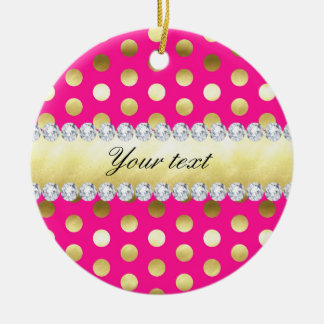 Ornamento De Cerâmica Diamantes das bolinhas da folha de ouro do rosa