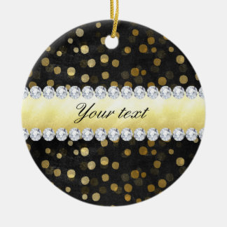 Ornamento De Cerâmica Diamantes pretos dos confetes do ouro do quadro