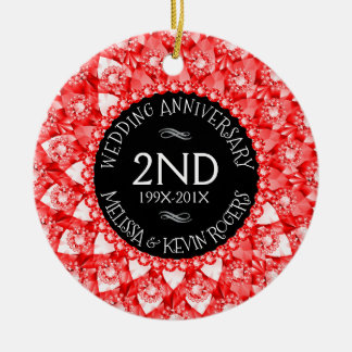 Ornamento De Cerâmica diamantes vermelhos e preto do aniversário de