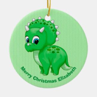 Ornamento De Cerâmica Dinossauro verde bonito do Triceratops do bebê