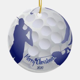 Ornamento De Cerâmica Divertimento Golfing do jogador de golfe do Natal