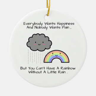 Ornamento De Cerâmica Dizer bonito da felicidade da nuvem de chuva do