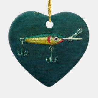 Ornamento De Cerâmica Duas atrações de pesca