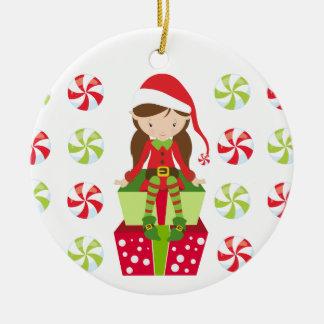 Ornamento De Cerâmica Duende personalizado do Natal dos doces