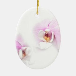 Ornamento De Cerâmica Duo da flor do bordo de Hilo do Phalaenopsis