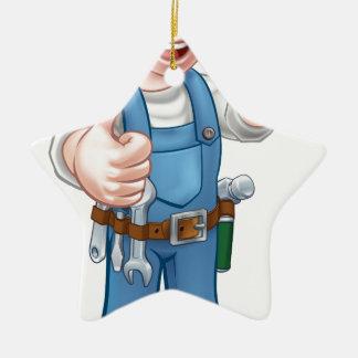 Ornamento De Cerâmica Eletricista do trabalhador manual com chave de