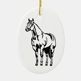 Ornamento De Cerâmica Equestrian de um quarto americano do cavalo da